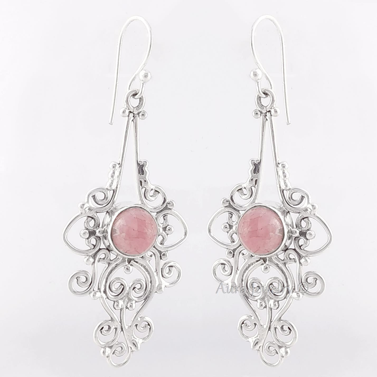 Christmas-Gift-Rhodochrosite-Solid-925-Sterling-Silver-Drop-Dangle-Earrings