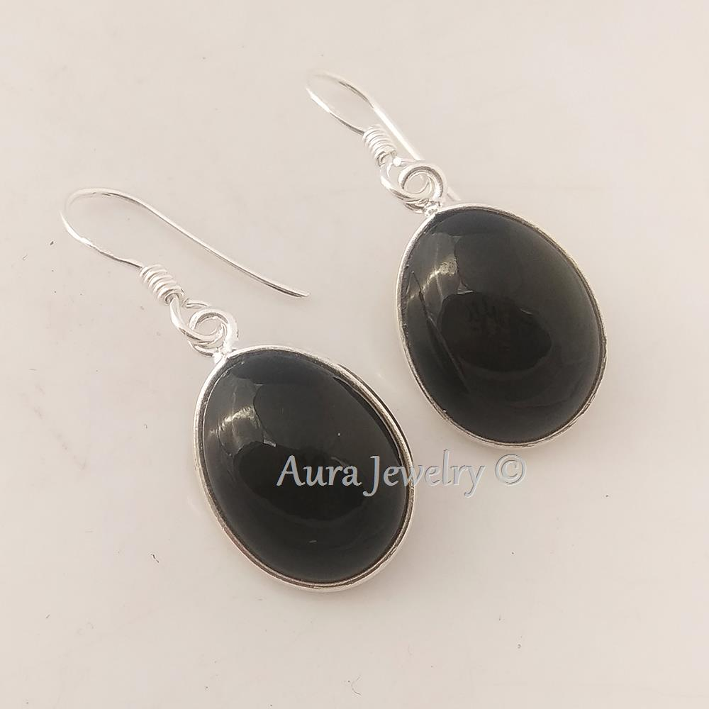 Black-Onyx-Textured-Solid-925-Sterling-Silver-Earings-Jewelry-Mothers-Day-Gift thumbnail 7