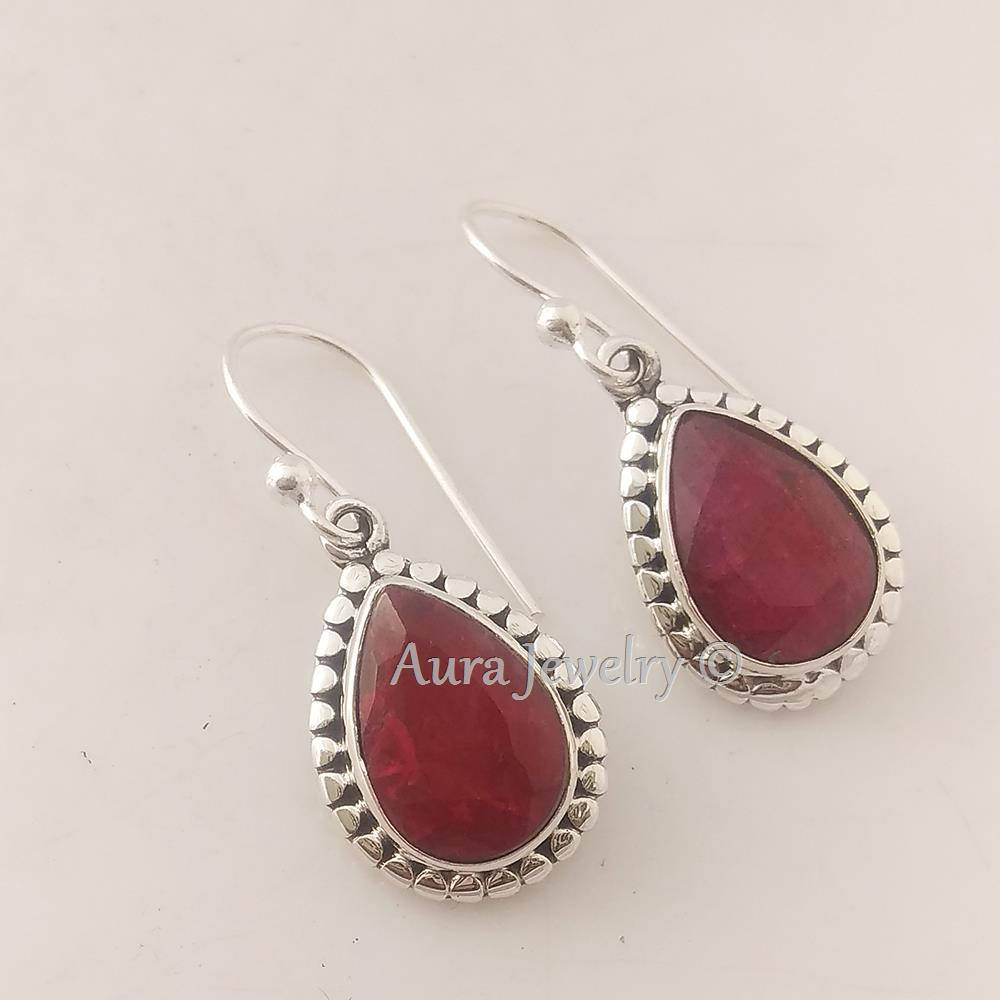 Dyed-Ruby-Solid-925-Sterling-Silver-Earrings-Handmade-Jewelry-Mothers-Day-Gift thumbnail 5