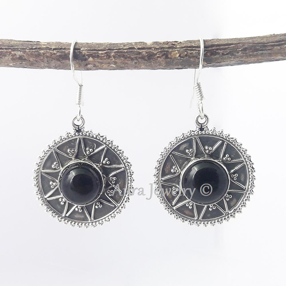 Black-Onyx-Textured-Solid-925-Sterling-Silver-Earings-Jewelry-Mothers-Day-Gift thumbnail 9