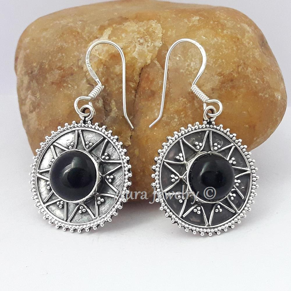 Black-Onyx-Textured-Solid-925-Sterling-Silver-Earings-Jewelry-Mothers-Day-Gift thumbnail 10
