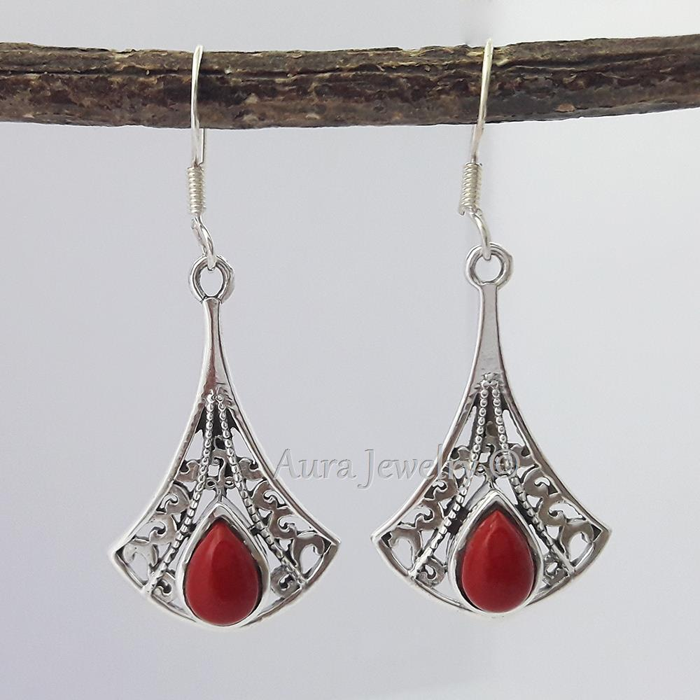 RED-CORAL-925-STERLING-SILVER-EARRINGS-BEAUTIFUL-JEWELRY-Mothers-Day-Gift thumbnail 6