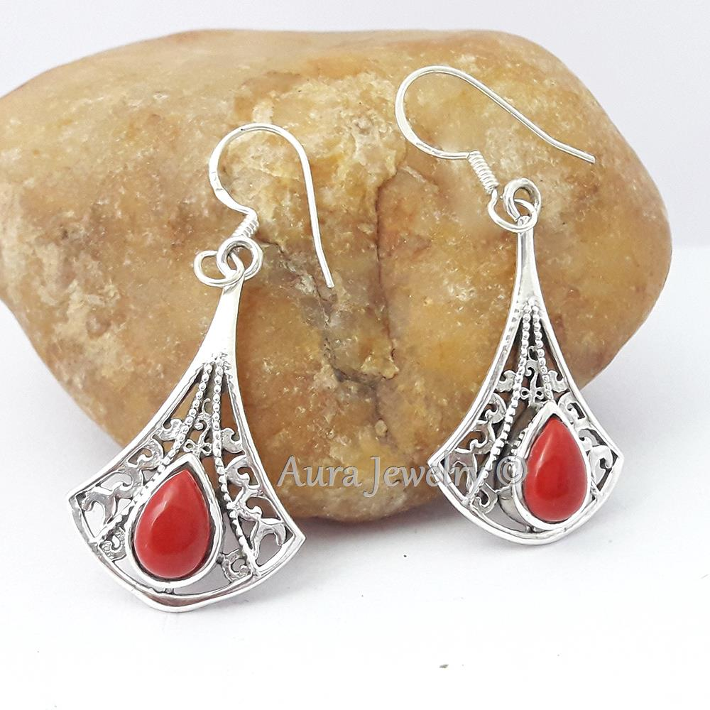 RED-CORAL-925-STERLING-SILVER-EARRINGS-BEAUTIFUL-JEWELRY-Mothers-Day-Gift thumbnail 7
