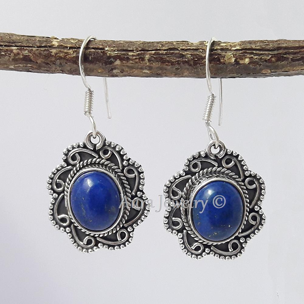 Details about  /Blue Sapphire 925 Sterling Solid Silver Handmade Earrings Mothers Day Gift