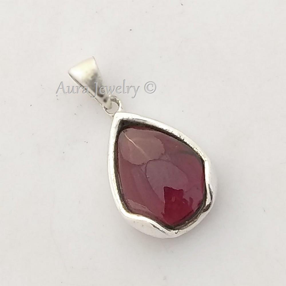 Garnet-Solid-925-Sterling-Silver-Pendant-Necklace-New-Year-Gift