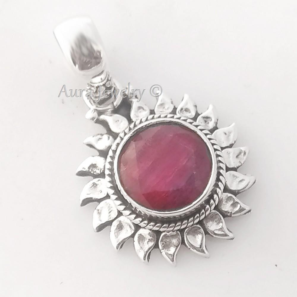 Sunflower-Ruby-Corundum-Solid-925-Sterling-Silver-Pendant-Necklace