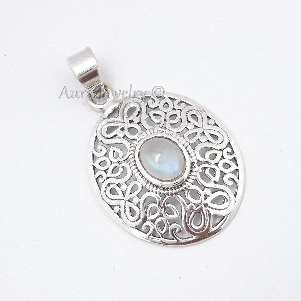 Rainbow-Moonstone-Gemstone-Pendant-925-Sterling-Solid-Silver-Women-Long-Jewelry