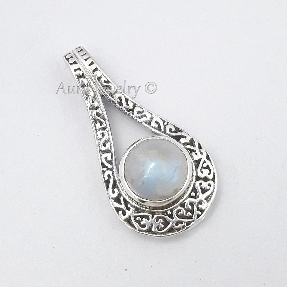 Rainbow-Moonstone-Gemstone-Pendant-925-Sterling-Solid-Silver-Beautiful-Jewelry