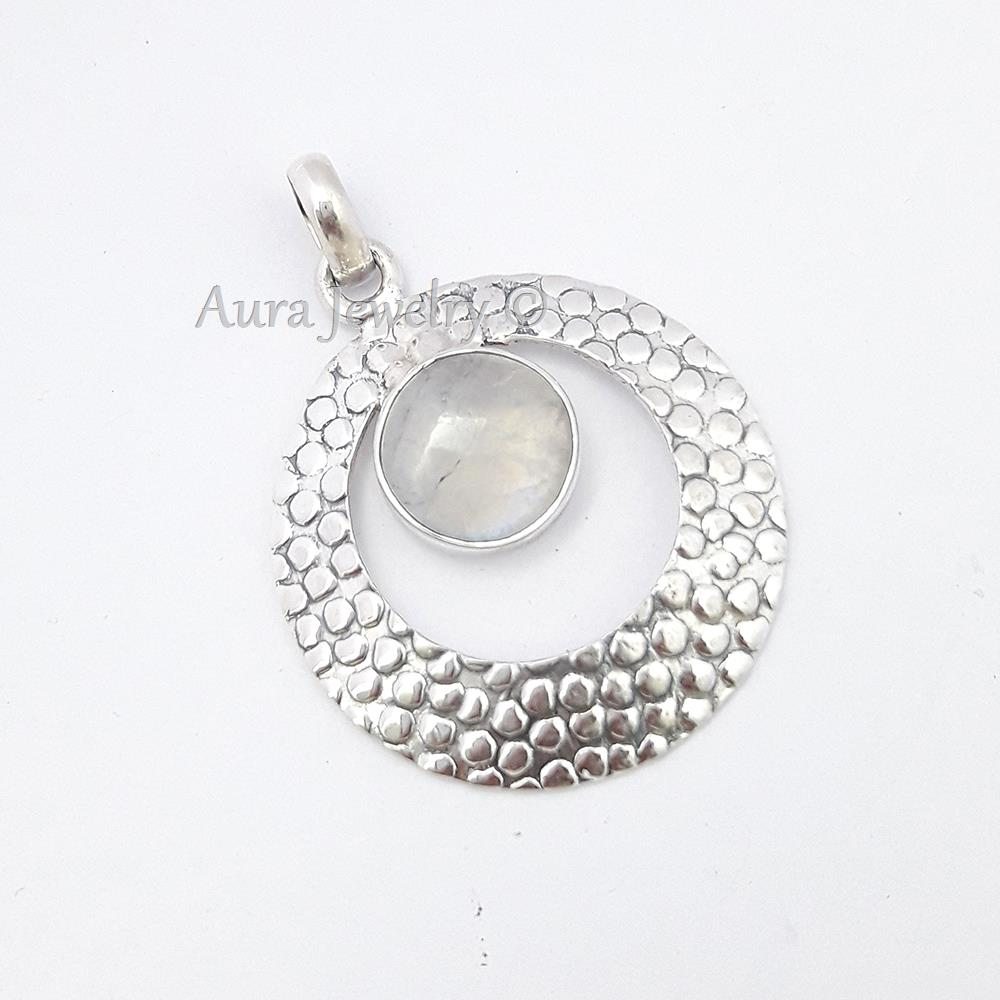 Women-Jewelry-Rainbow-Moonstone-Pendant-925-Sterling-Solid-Silver-S-1-75-034