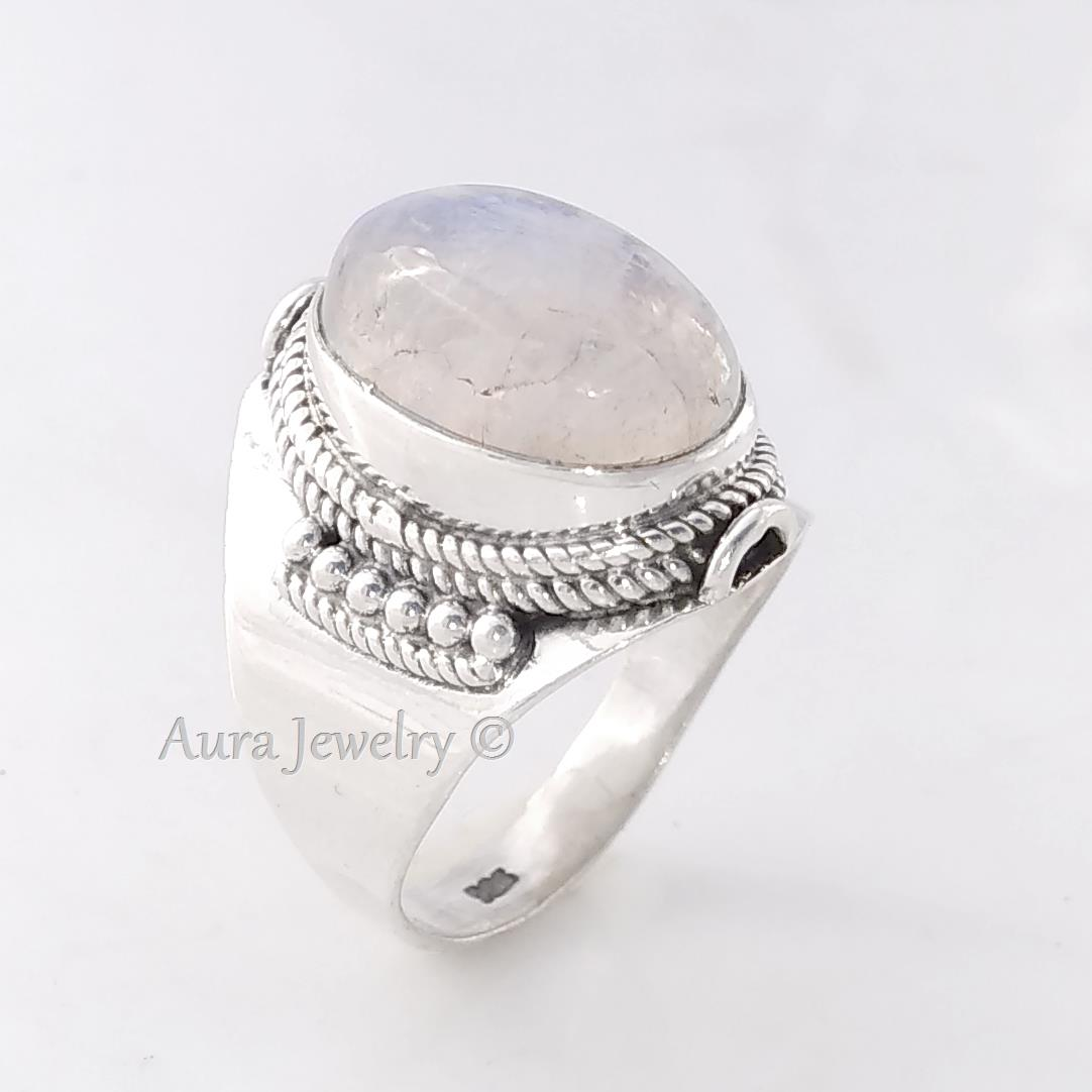 Rainbow Moonstone Solid 925 Sterling Silver Ring Jewelry Size Y Woodlandhideawaypark Co Uk
