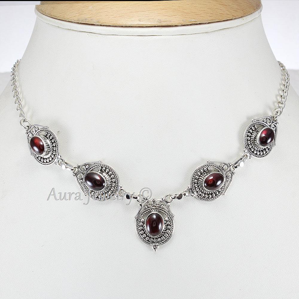 Garnet-Solid-925-Sterling-Silver-Pendant-Necklace thumbnail 2
