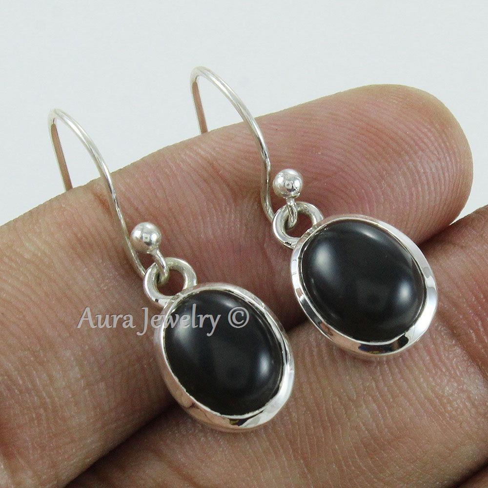 Designer-Jewelry-925-Sterling-Solid-Silver-Black-Onyx-Gemstone-Gift-Earrings thumbnail 9