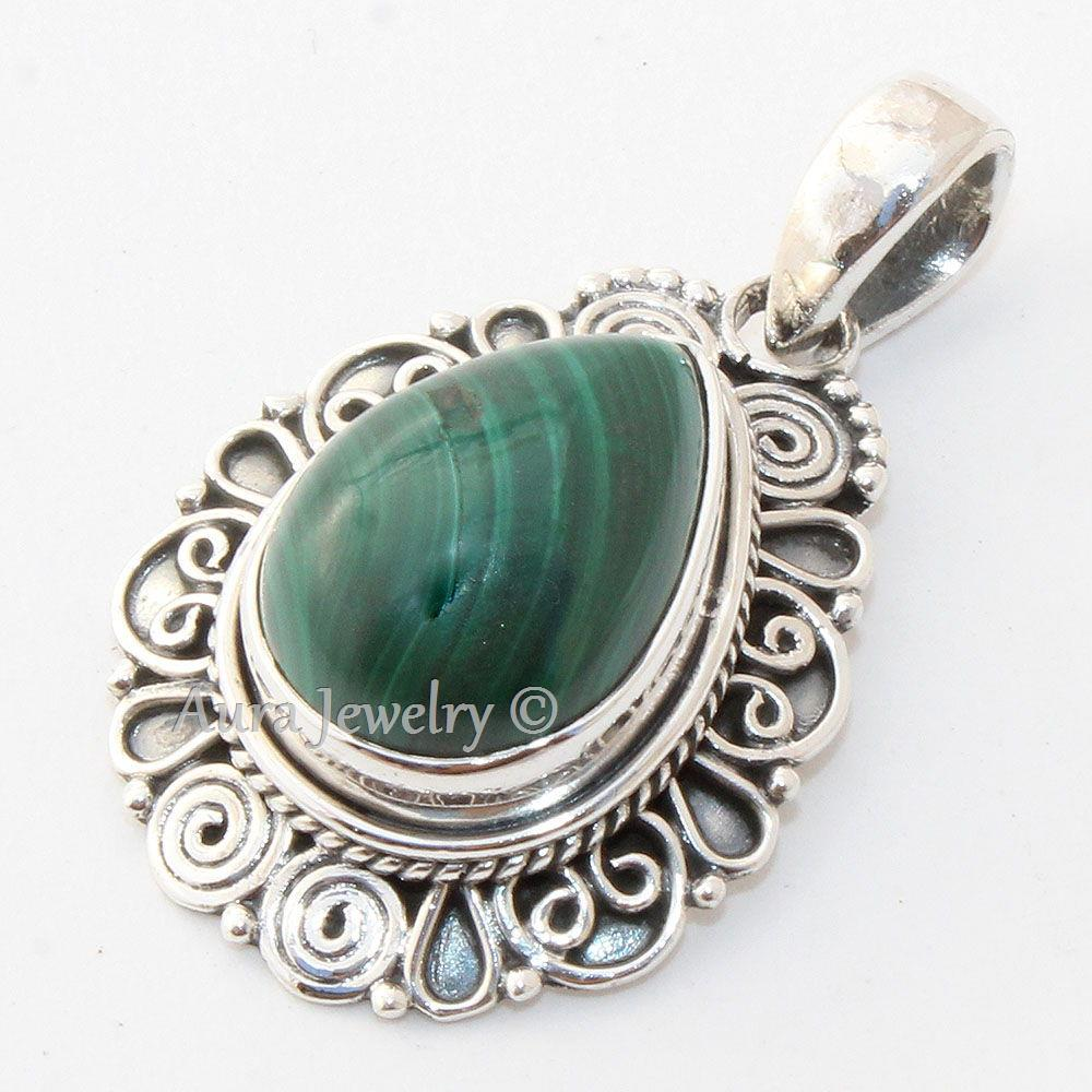 Malachite-Solid-925-Sterling-Silver-Pendant-Necklace