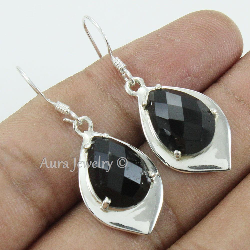 Black-Onyx-Textured-Solid-925-Sterling-Silver-Earings-Jewelry-Mothers-Day-Gift thumbnail 5