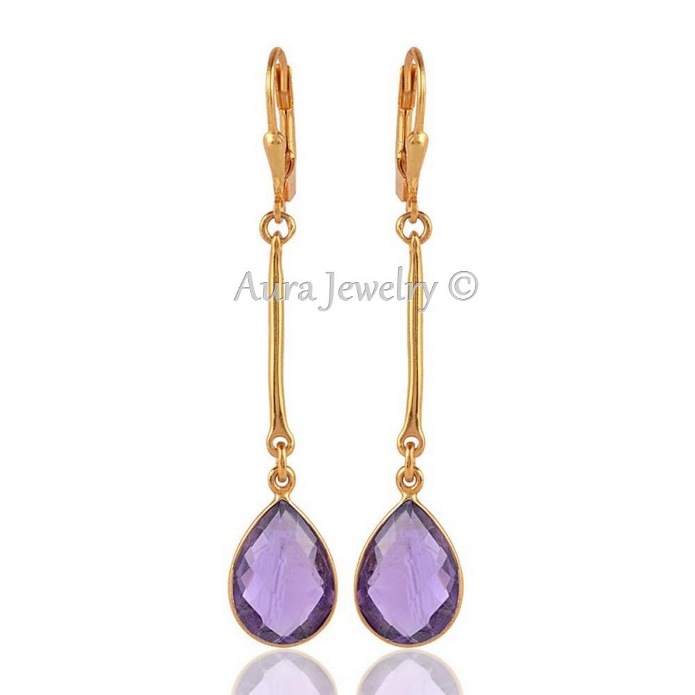 18K-Gold-Plated-Sterling-Silver-Drop-dangle-Earring-with-Natural-Amethyst