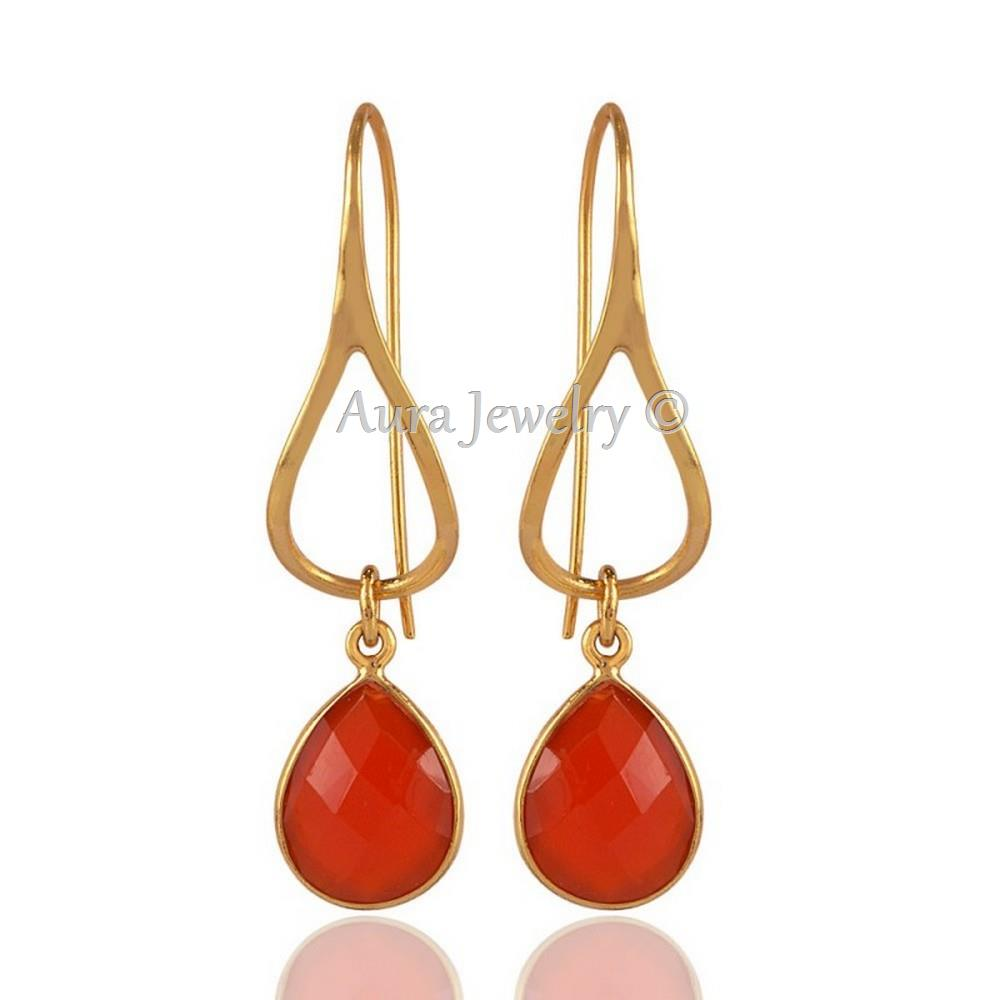 Christmas-Gift-Red-Onyx-and-18K-Gold-Plated-Silver-Designer-Earring