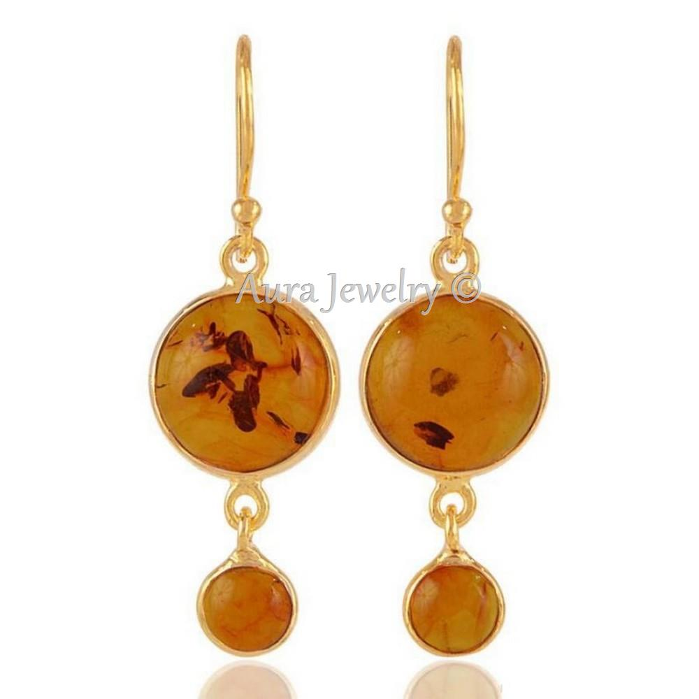 Xmas Gift Baltic Amber Gold Plated Round Silver Dangle Earring