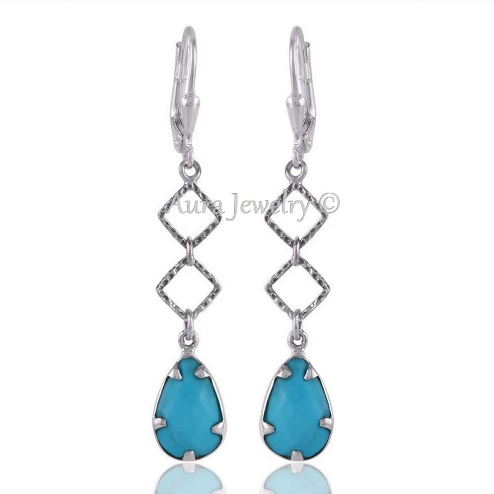 Christmas Gift Arizona Turquoise Hammered Silver Dangle Drops Earring