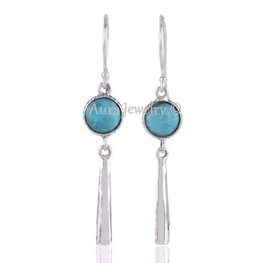 Turquoise-and-Sterling-Silver-Long-Drops-Dangle-Earrings