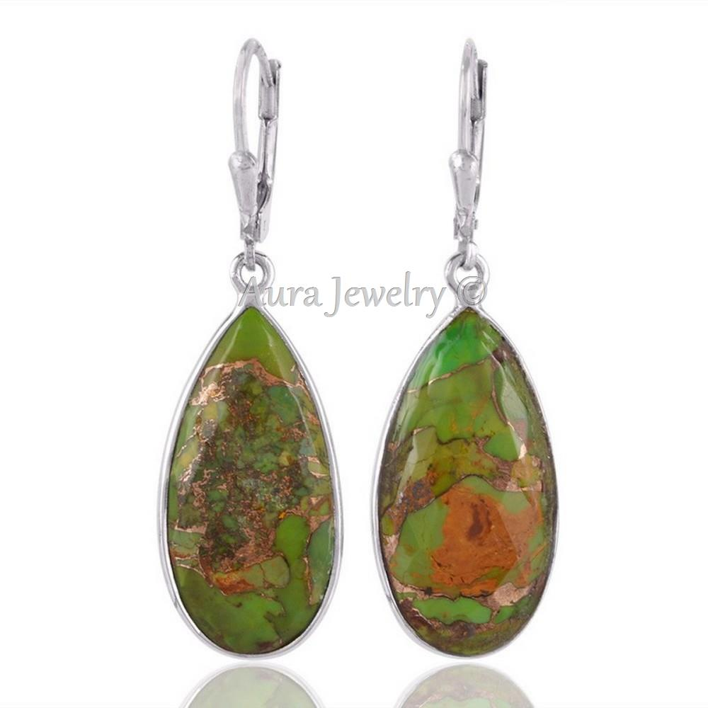 Christmas-Gift-Green-Copper-Turquoise-925-sterling-Silver-Dangle-Earring