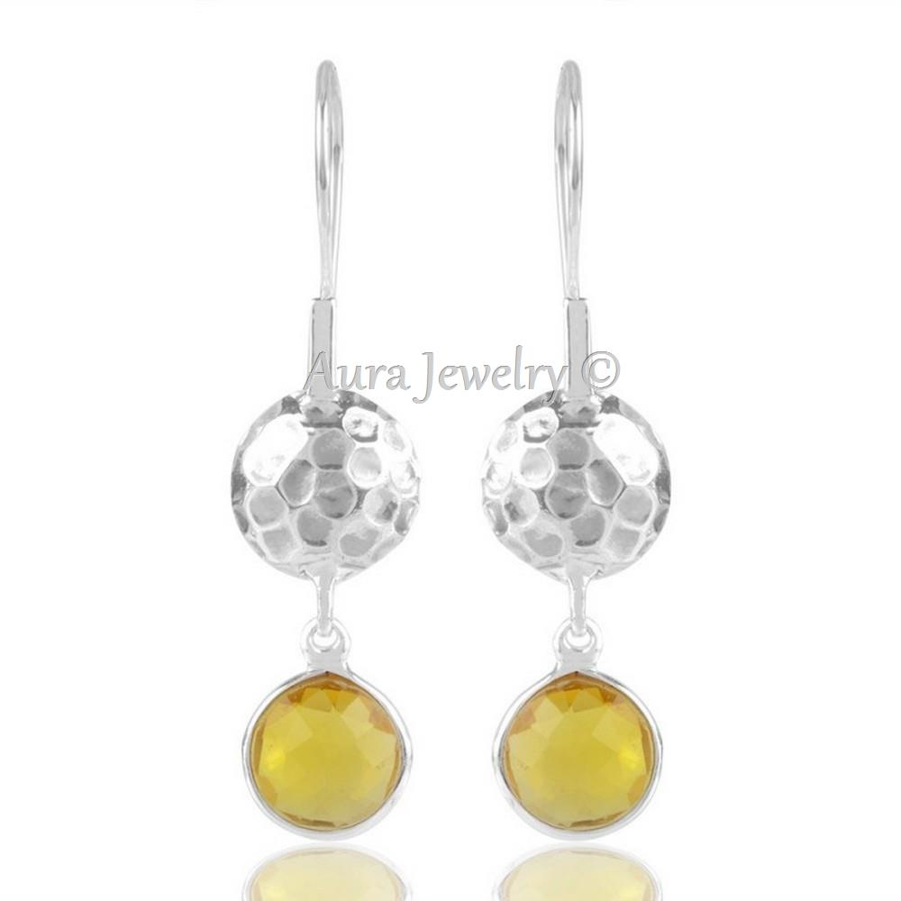Xmas-Gift-Yellow-Onyx-Hammered-Design-Solid-Silver-Dangle-Earring