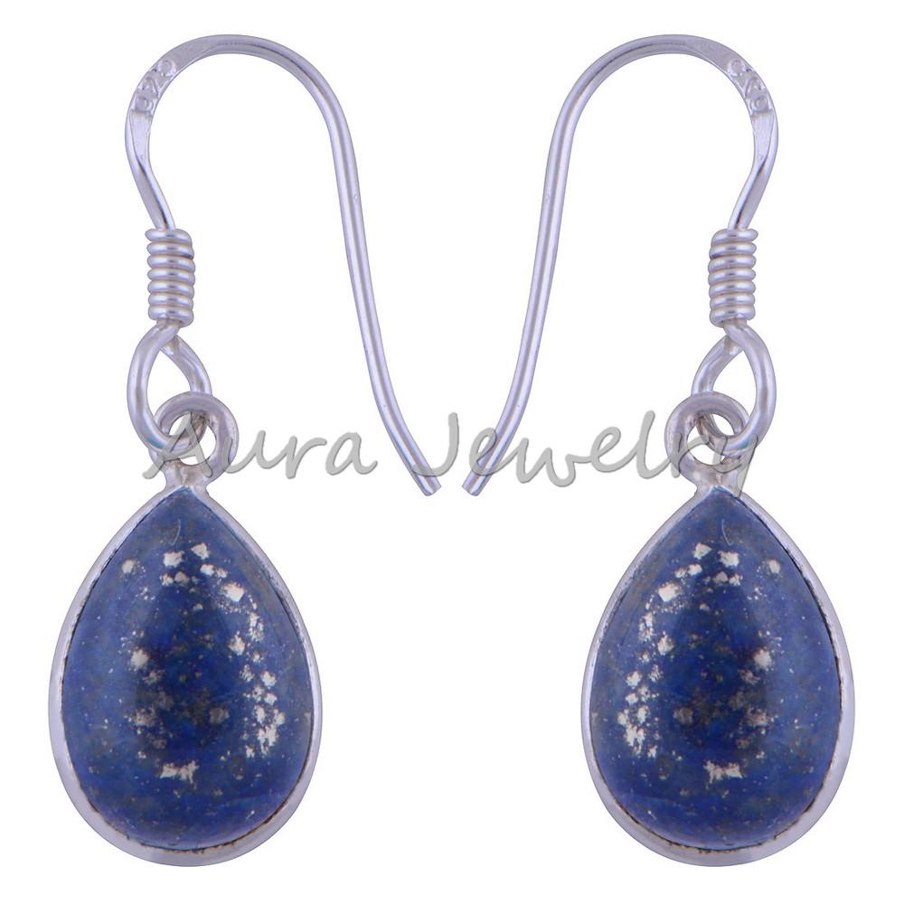 Solid 925 Sterling Silver Earrings Drop Dangle Lapis Lazuli Gemstone Jewelry