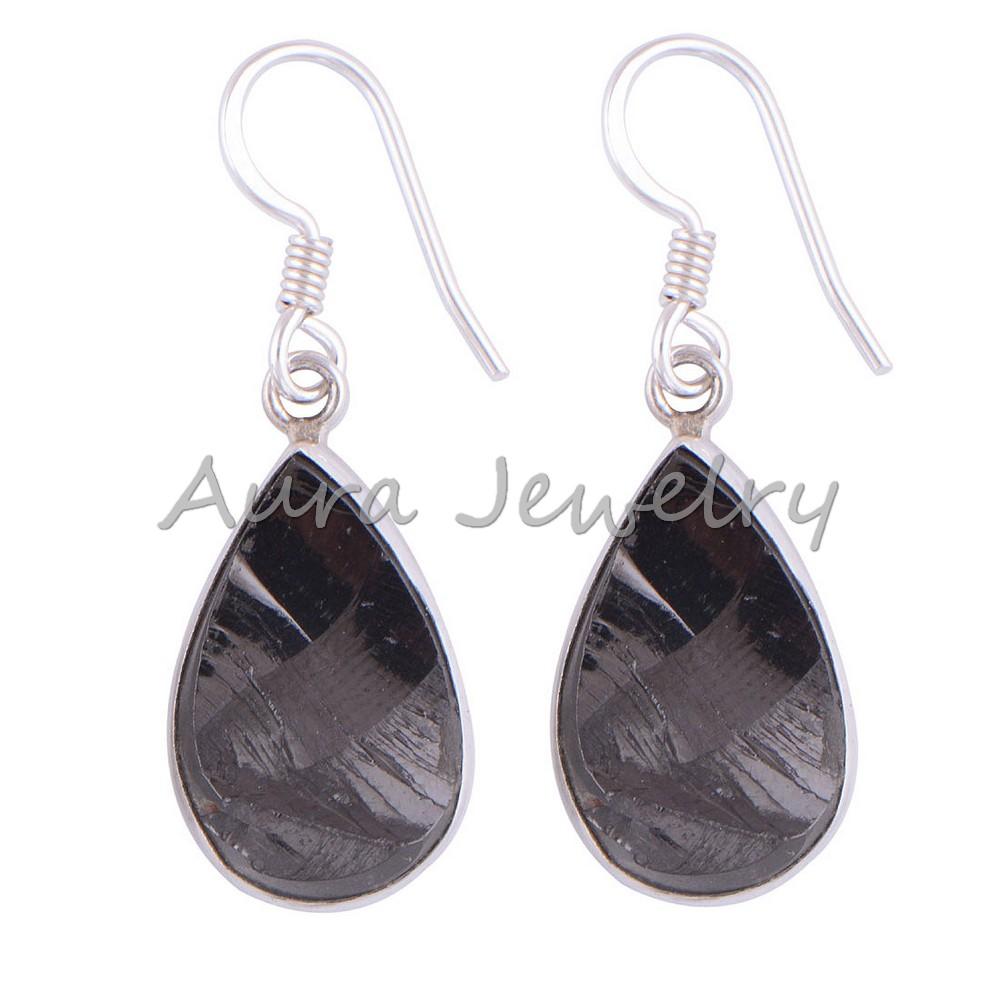 Shungite-Gemstone-Solid-925-Sterling-Silver-Earrings-Handmade-Jewelry