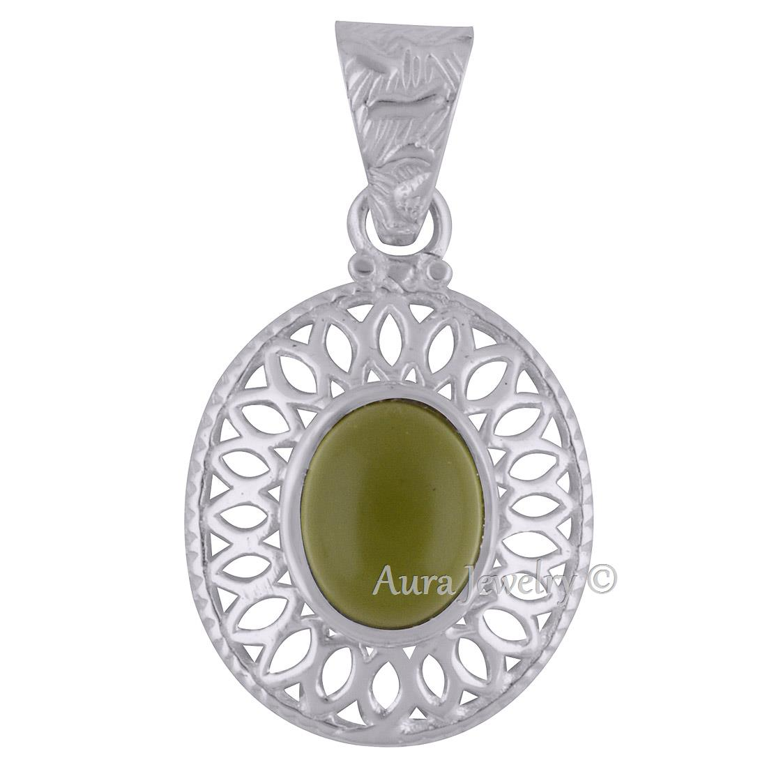 Solid-925-Sterling-Silver-Peridot-Gemstone-Pendant-Necklace-Jewelry-P1835-1 thumbnail 2